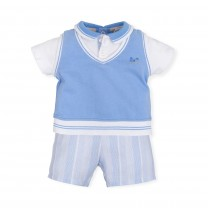 Blue Stripes and White Babygrow