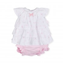 White and Pink Mini Bow Baby Dress