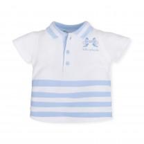 White and Sky Blue Stripes Polo Shirt
