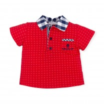 Red Patterned Polo Shirt with Checkered Collar