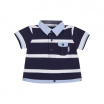 White and Navy Blue Striped Polo Shirt