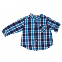 Blue Check Mandarin Collar Shirt