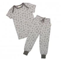 Grey Animal Origami Short Sleeves Pyjamas Set