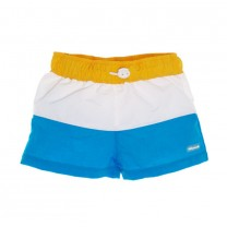 Yellow-White-Blue Color Block Swim Trunks