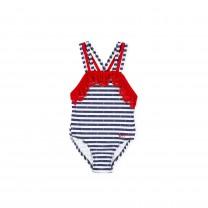 Navy & Red Stripe Swimsuit