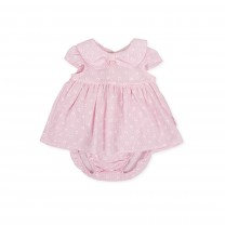 Pink Collar Bow Flower Dress