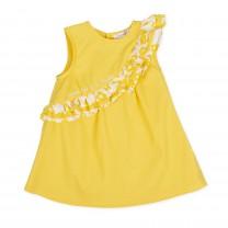 Yellow Ruffle Sleeveless Dress