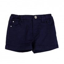 Navy Logo Cotton Shorts