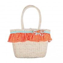 Straw Basket with Aqua Green & Orange Checkered Frills