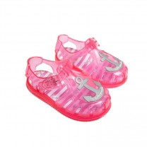 Pink & Grey Anchor Jelly Shoes