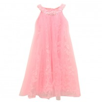 Pink Leaves Sleeveless Dress