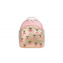 Gold Cherry Pompon Mini Backpack