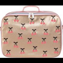 Gold Cherry Pompon Mini Suitcase