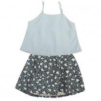 Blue Joy Tank and Skirt Set