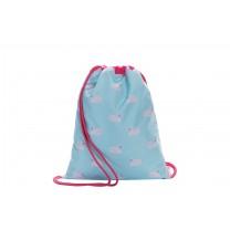 Light Blue Swan Drawstring Bag