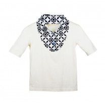 Cream Geometric Collar T-Shirt