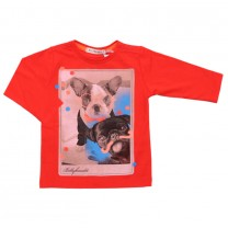 Red Artsy Dog Print T-Shirt