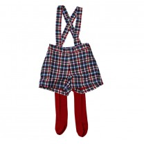 Plaid Short with Red Tights