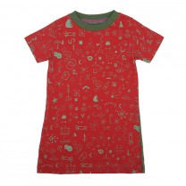 Maroon-Green Zodiac Printed Dress