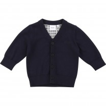 Black Button Up Cotton Baby Sweater