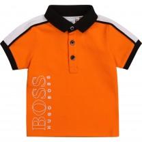 Orange Logo Sporty Baby Polo Shirt