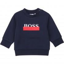 Navy Striped Logo Baby Sweater