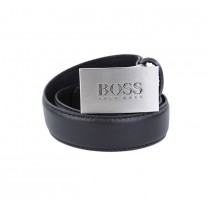 Metallic Buckle Logo Leather Belt