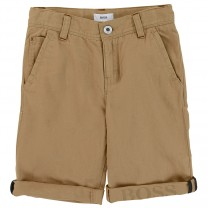 Boys Brown Linen Blend Shorts with Logo