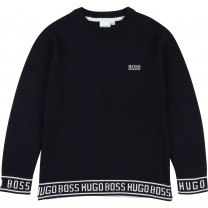 Navy Cotton Logo Sweater