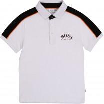 White Logo Sporty Polo Shirt