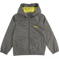 Grey Printed Windbreaker Hooded Zipped Jacket