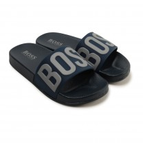 Navy Logo Sandals
