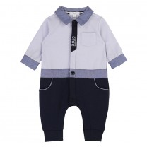 Soft Blue Shirt Romper