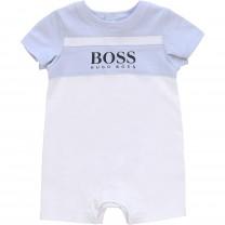 White and Blue Logo Babysuit