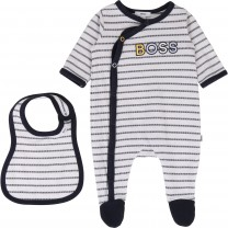 Black and White Stripe Babygrow Set