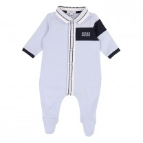Soft Blue Embroidered Logo Babygrow