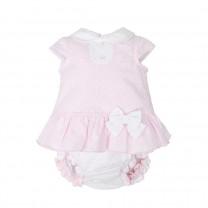 Light Pink Dots Bow Baby Dress
