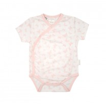 Pink Butterfly Short Sleeves Babysuit