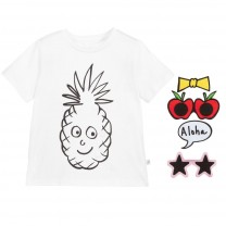 White Pineapple Cotton Badge T-Shirt