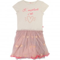Off White Heart Print Sequins Detail Tutu Dress