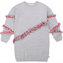 Grey Flounce Sweater Dress