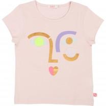 Pink Marl Face Print T-Shirt