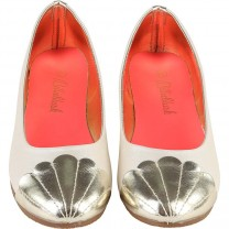 Cream with Silver Seashell Ballerina Shoes
