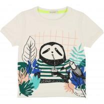 Ivory Jungle Sloth Print Cotton T-Shirt
