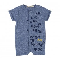 Grey Babysuit with Lettering Print