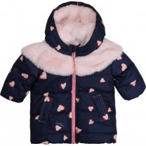 Navy Hearts Down Jacket