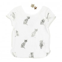 Metallic Cat T-Shirt with Stars Hairclip (4-5 years)