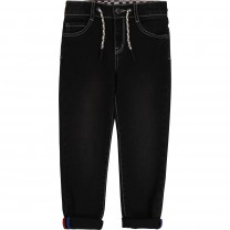 Black Checkered Denim Pants