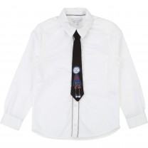White Oxford Shirt with Removable Tie with MJ Illustration
