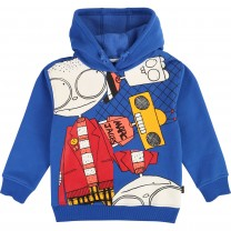 Blue Cotton Print Hooded Jacket